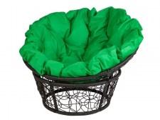 pletenoe-kreslo-papasan-23-01-chernoe-s-zelenoj-podushkoj-1.jpg